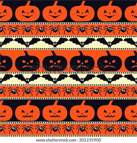 Halloween pattern with pumpkins, bats, spiders. Seamless halloween background. Happy Halloween concept illustration. - stock vector