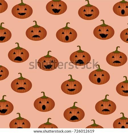 halloween pattern pumpkins cute pumpkin face emoji stock vector
