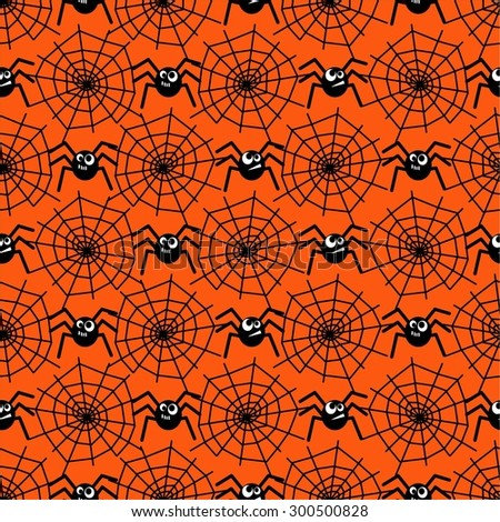 Halloween  pattern with spiders and spider webs . Seamless halloween background. Happy Halloween concept illustration. - stock vector