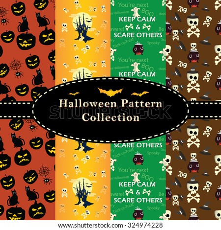 Halloween Patterns collection. Set of seamless patterns for fabric, wrapping paper,etc. Print colors used. Patterns can be found in swatches. - stock vector
