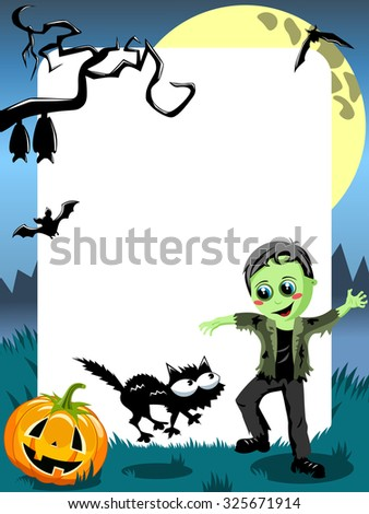 Halloween Photo Frame featuring green monster kid scaring black cat - stock vector