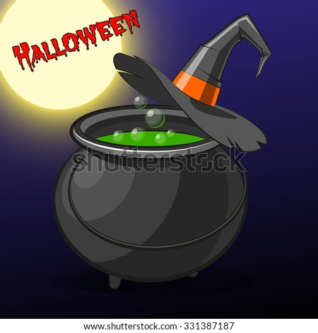 Halloween picture with boiler potions and witches hat