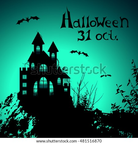 Halloween placard, greeting card or banner with castle on a cliff. Vector illustration