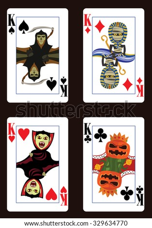 Halloween poker cards. Four kings