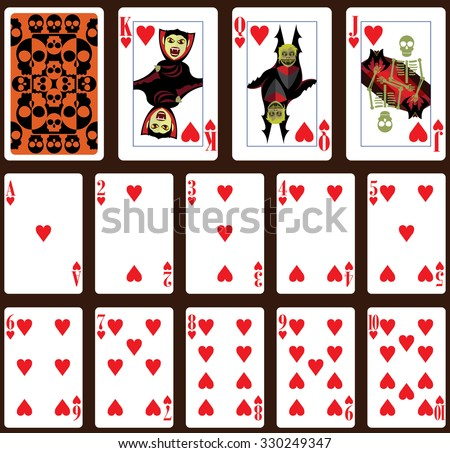 Halloween poker playing cards. Heart suit and back