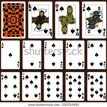 Halloween poker playing cards. Spade suit and back - stock vector