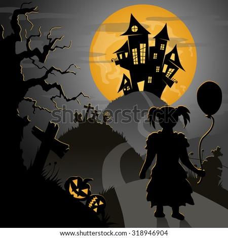 halloween postcard: little girl going to castle through scary hills with graves and pumpkins, vector illustration