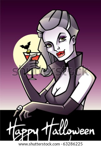 Halloween postcard with vampire drinking bloody mary