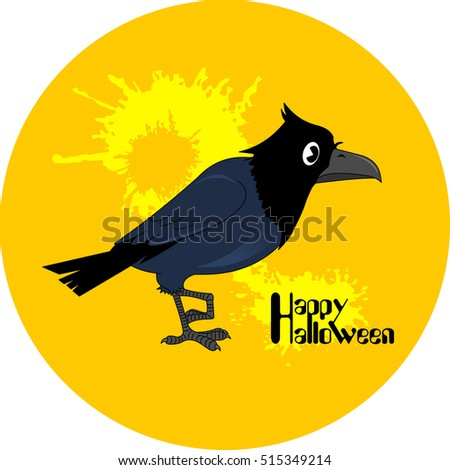 Halloween poster. Black bird on the yellow background