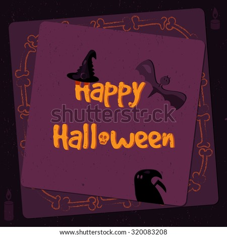 Halloween poster, bright banner and greeting card in grunge style. Vector