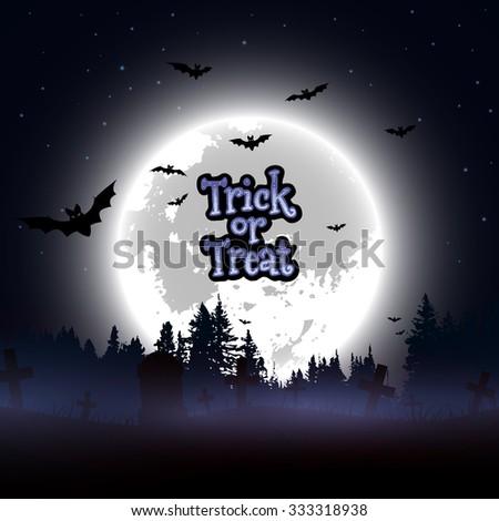 Halloween poster design. Trick or Treat message design background, vector illustration - stock vector