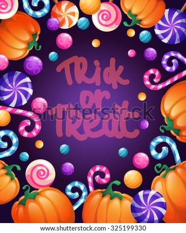 Halloween poster.  Halloween card with pumpkins and lollipops. Vector illustration. - stock vector