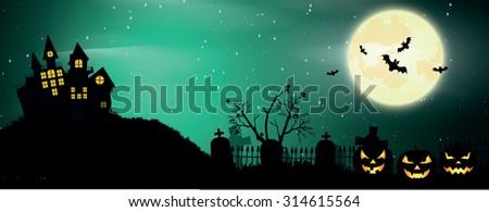 Halloween poster. Halloween vector background - stock vector