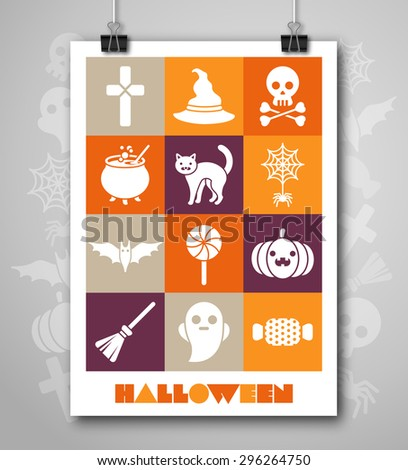 Halloween Poster or Flyer with Flat Icons Set. Greeting Card, Halloween Party Invitation Design. Vector illustration. Minimal Cover Design. Halloween menu design. - stock vector