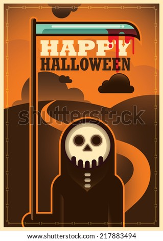 Halloween poster. Vector illustration. - stock vector