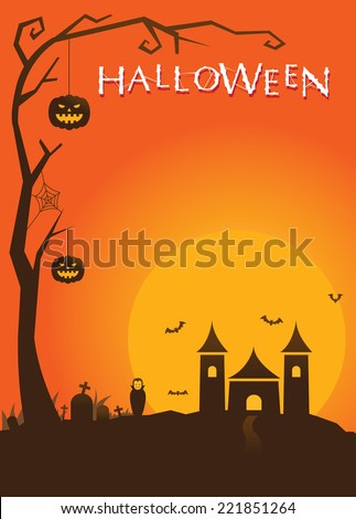 Halloween Poster with Castle Background  - stock vector