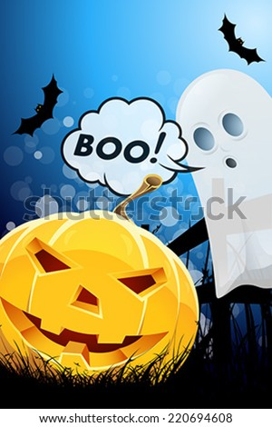 Halloween Poster with Ghost and Pumpkin - stock vector