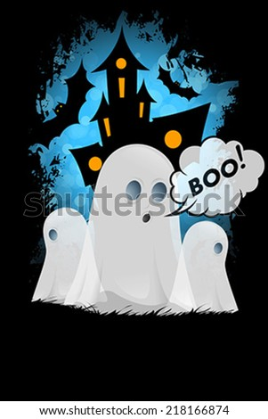 Halloween Poster with Ghosts - stock vector