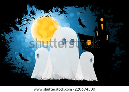 Halloween Poster with Ghosts and Haunted House - stock vector