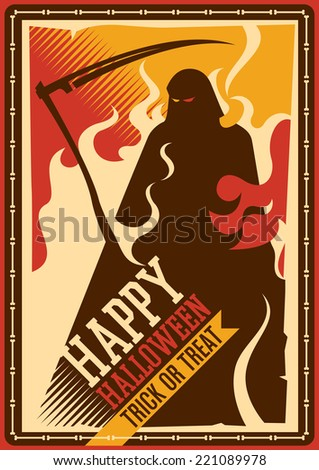 Halloween poster with grim reaper. Vector illustration. - stock vector