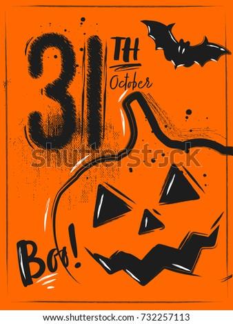Halloween Poster Pumpkin Date Orange Background Stock Vector ...