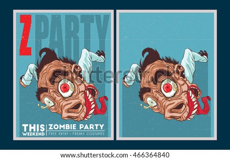 Halloween Poster. Zombie party invitation set.
