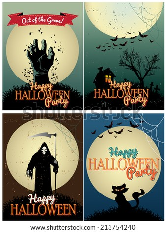 Halloween Posters set - stock vector