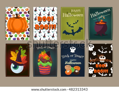 Halloween Posters Set Party Invitation Spooky Vector – Scary or Horror Invitation Cards