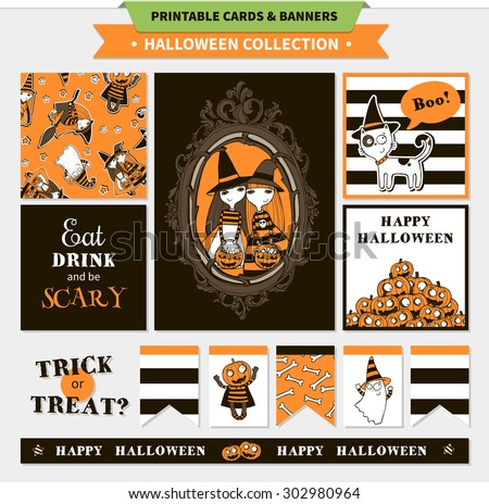 Halloween printable vector cards and banners with cartoon funny pumpkin, witches, ghosts, vampire bats, cat stars and words (trick or treat, happy halloween, eat drink and be scary) - stock vector