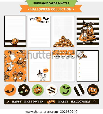 Halloween printable vector cards and notes with cartoon funny pumpkin, witches, ghosts, cat, vampire bats, bones, stars and words (trick or treat, happy halloween) - stock vector