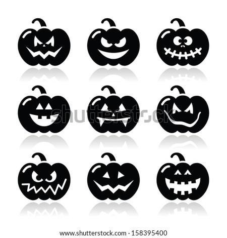 Halloween pumkin vector icons set - stock vector