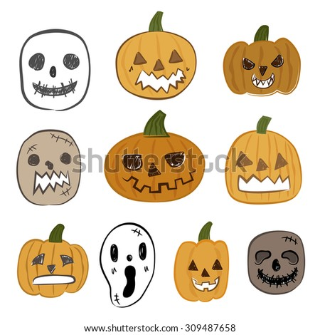 Halloween pumpkin and ghost face vector icon set - stock vector