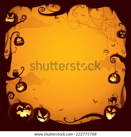 Halloween pumpkin border for design - stock vector