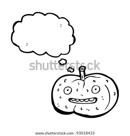 halloween pumpkin cartoon with thought bubble