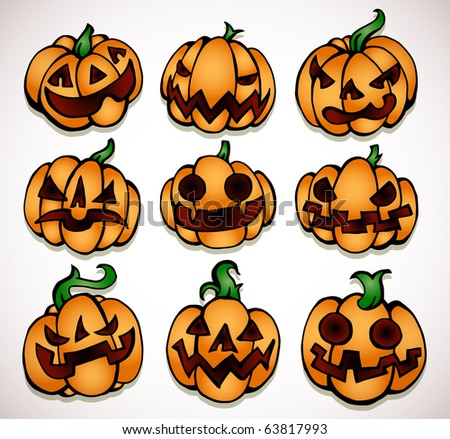 Halloween pumpkin collection (different carved faces)