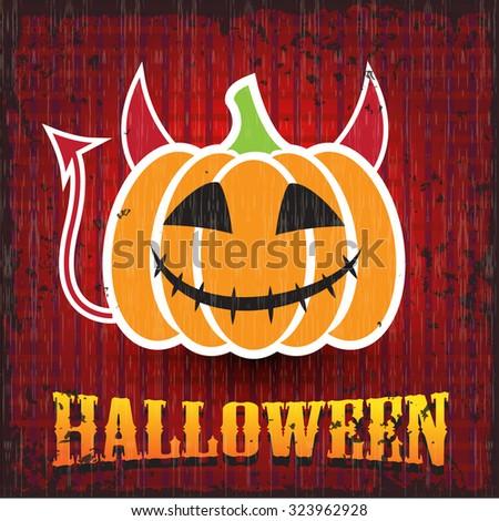 Halloween pumpkin. Devil. - stock vector