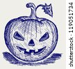 Halloween pumpkin. Doodle style - stock vector