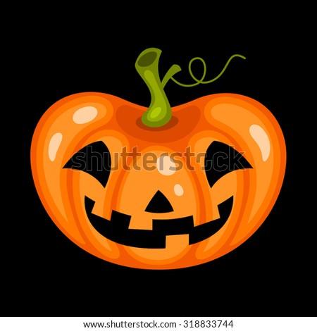 Halloween pumpkin face over black background - stock vector