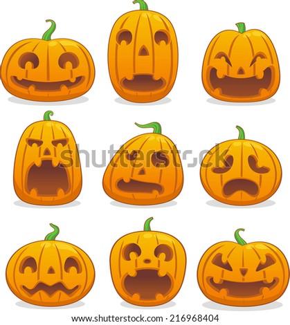 Halloween pumpkin head icon avatar collection - stock vector