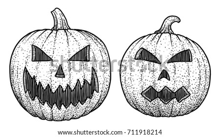 Halloween Collection Illustration Drawing Engraving Ink Stock ...