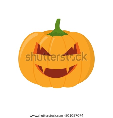 Halloween pumpkin head isolated on white background. Pumpkin head vector icon in flat style. Scary Halloween cartoon pumpkin.