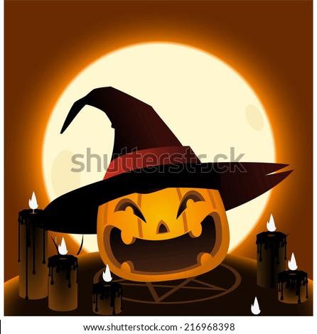 Halloween pumpkin head magic ritual cartoon illustration - stock vector