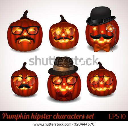 Halloween pumpkin hipster icon set isolated on white - vector illustration.