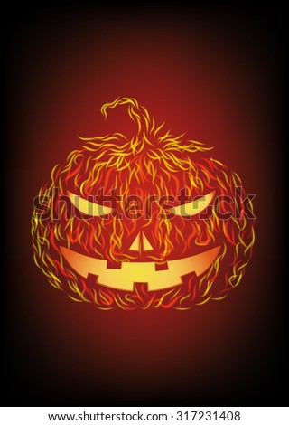 Halloween pumpkin in fire. Vector illustration - stock vector
