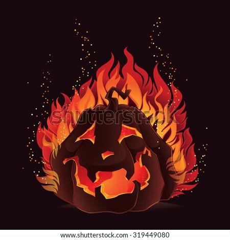 Halloween pumpkin in flames - stock vector