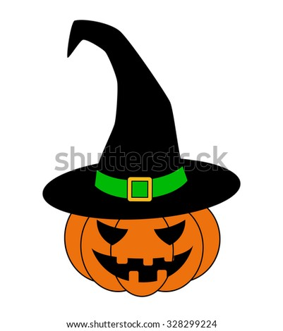 Halloween pumpkin in witches hat vector illustration, Jack O Lantern isolated on white background. Scary orange picture with eyes. - stock vector