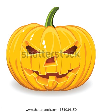 Halloween pumpkin  isolated on white background. - stock vector