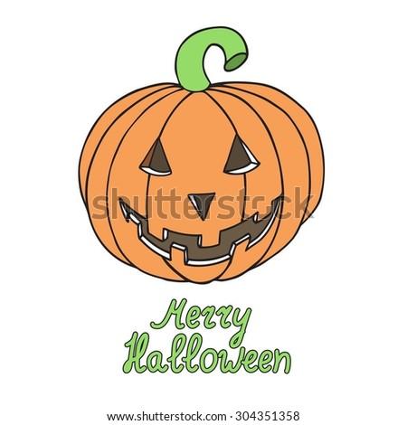 Halloween pumpkin isolated on white background. Merry halloween. Vector illustration. EPS 10. - stock vector