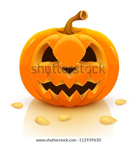 Halloween pumpkin isolated on white background. Vector illustration. - stock vector