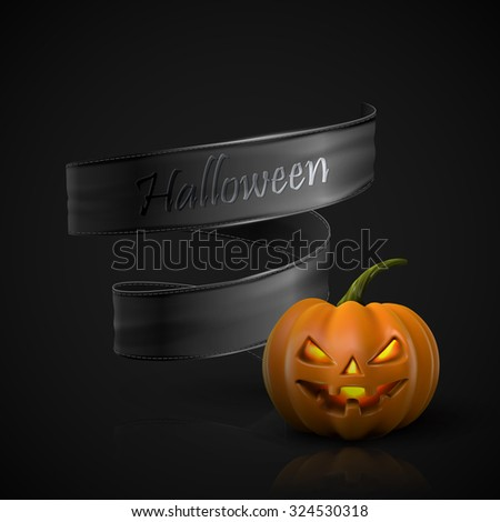 Halloween Pumpkin Jack Lantern with black ribbon. Holiday Vector Illustration Of Realistic Pumpkin - stock vector